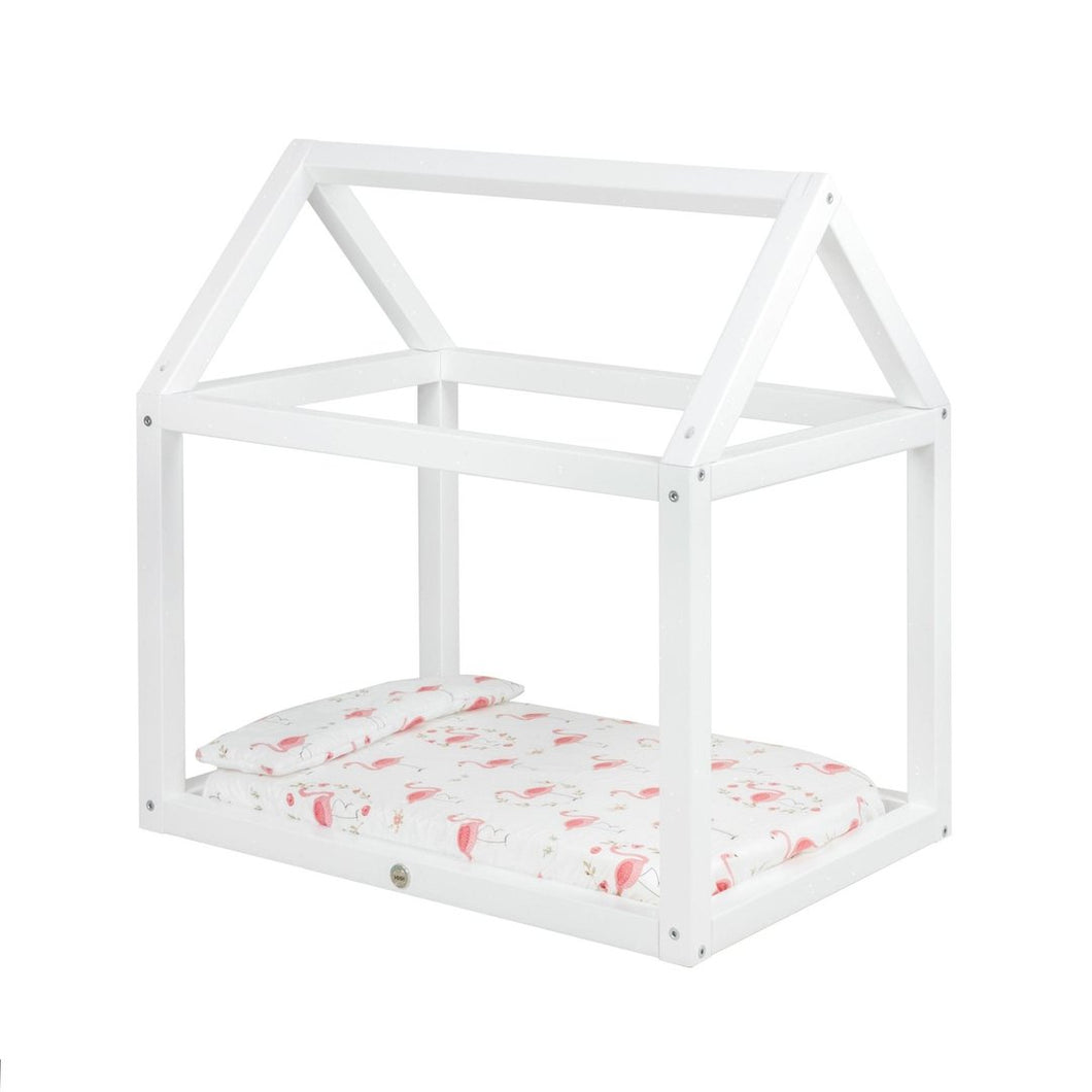 Wooden House Dolls Bed