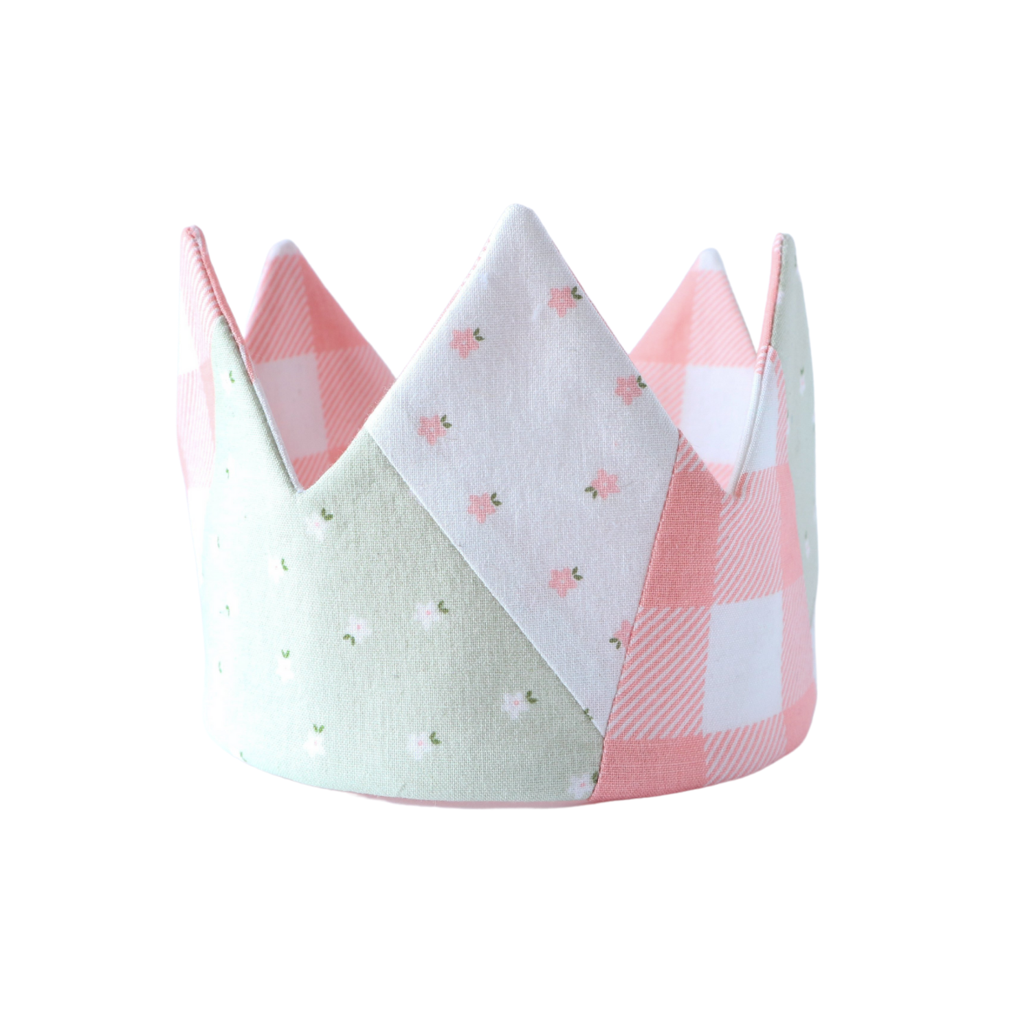 Quilted play crown for kids, pink gingham, green floral and white floral fabric