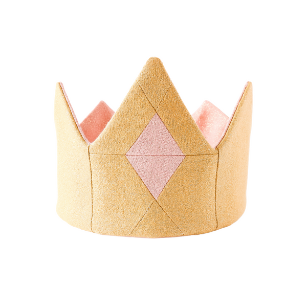 Gold shimmer tiara for princess dress up, with pink quilted jewel