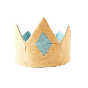 Gold shimmer tiara with quilted front and blue jewel for kids