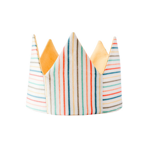 Rainbow stripe crown for kids birthday, reversible to yellow