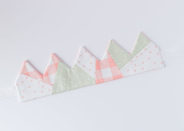 Handmade play crown laying flat, 3 fabrics, pink gingham, green floral and white floral