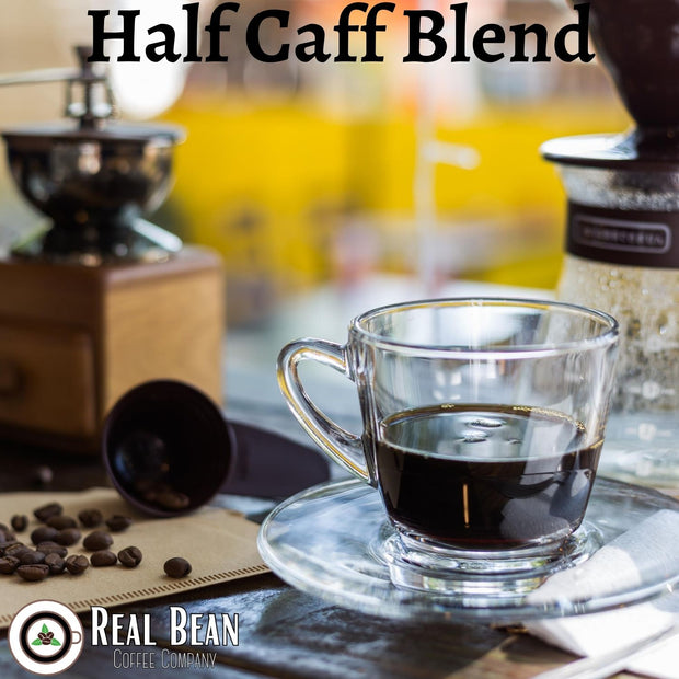Half Caff Blend on Glass Cup