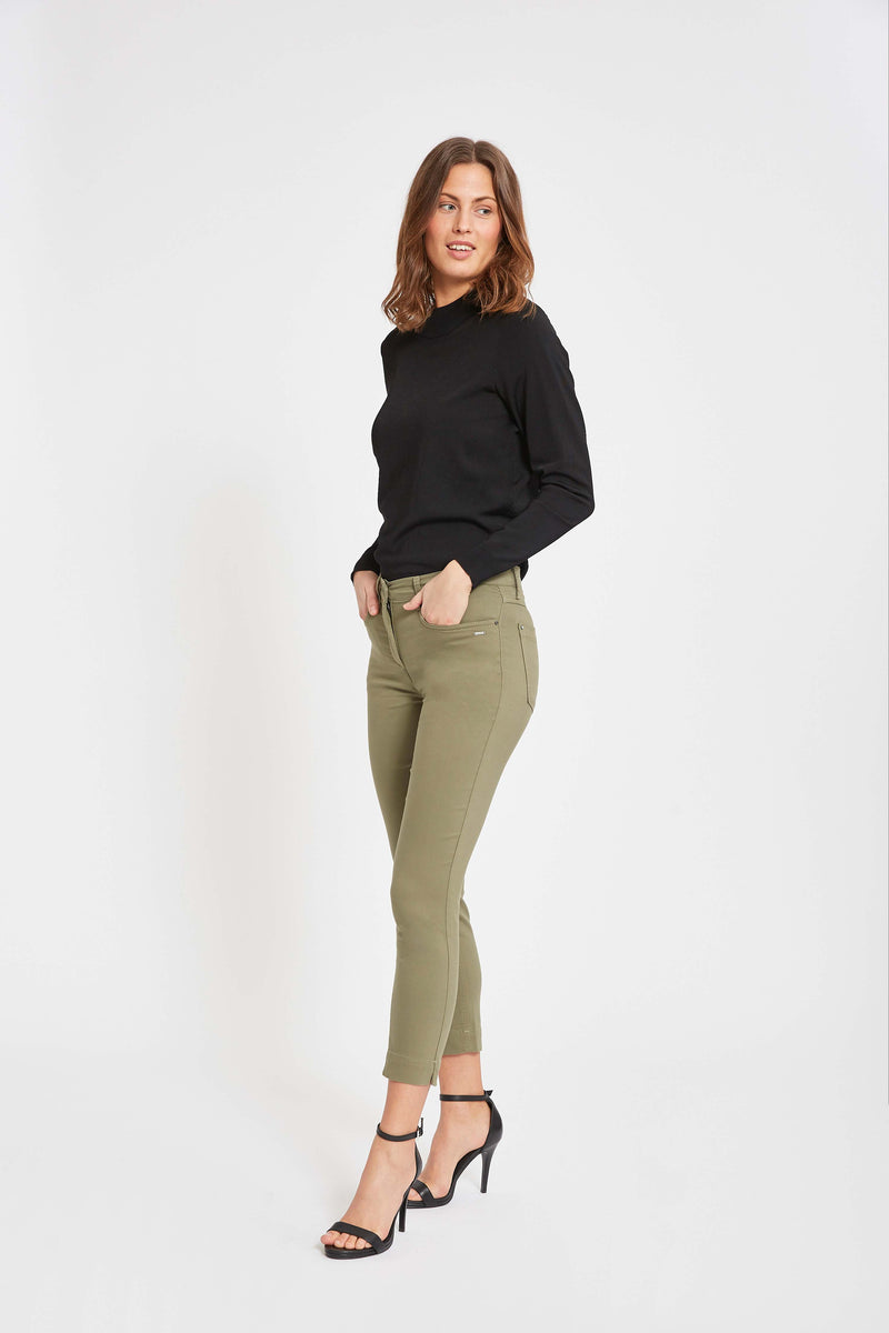 Amy Slim Cropped Bukser - Khaki