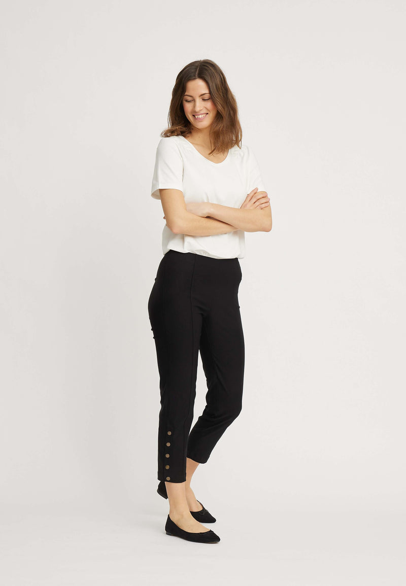 Polly Regular Cropped Bukser - Black