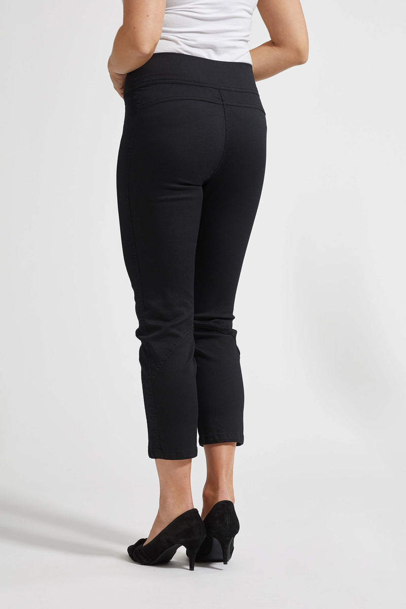 Sara Regular Cropped Bukser - Black