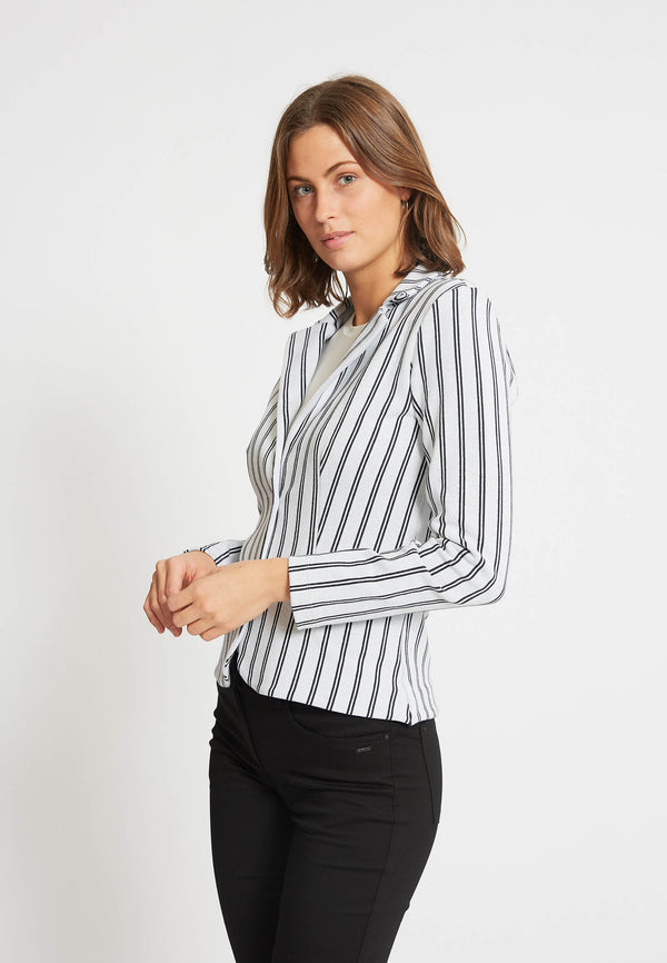 Tina Blazer - Off White Navy Stripe