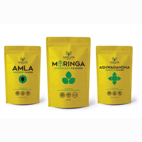 Good Lyfe Project Ashwagandha Amla Moringa 200 gms pack combined images for contact us page