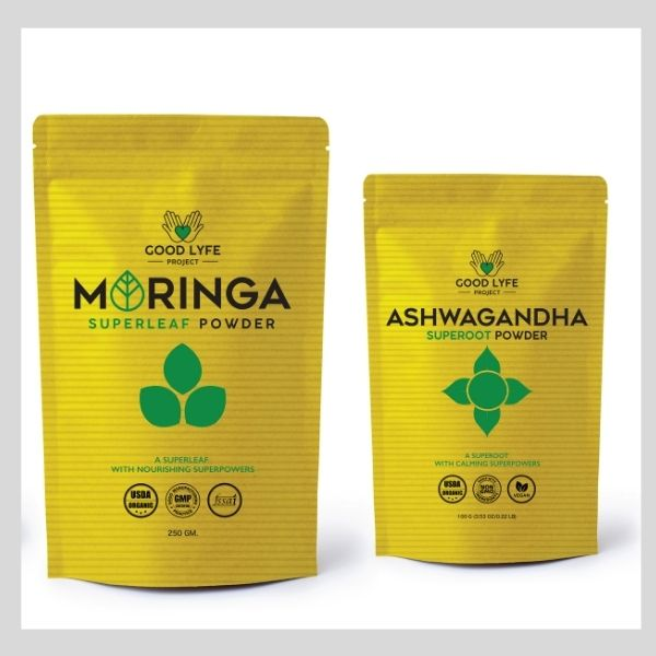 Buy Online Good LYfe Project Ashwagandha Moringa Powder Certified Organic India Made