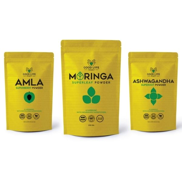 Buy Ashwagandha Moringa Amla Combination Powder Pack Certified organic India made Pack