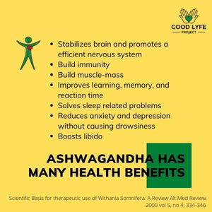 Buy Online Ashwagandha Powder Certified Organic India Made Good Lyfe project Nutrition Benefits
