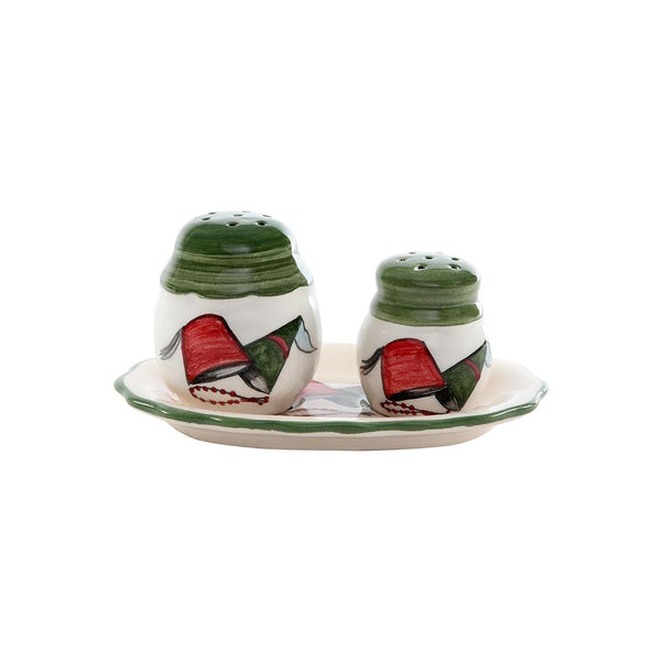 Lebanese Tarbouch Salt & Pepper Hand Painted Ceramic Shakers - Green Lid