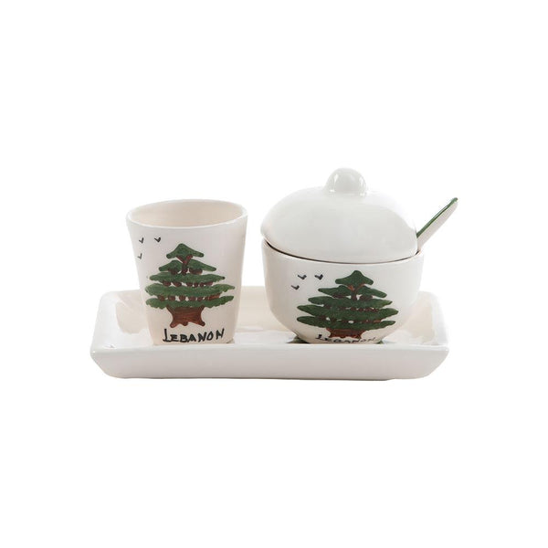 Lebanese Cedar Sugar & Water Hand Painted Ceramic Set
