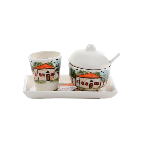 Lebanese House Sugar & Water Hand Painted Ceramic Set