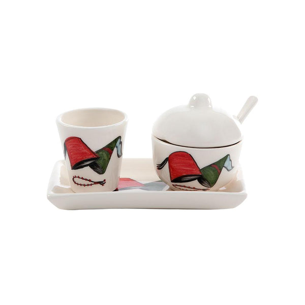 Lebanese Tarbouch Sugar & Water Hand Painted Ceramic Set
