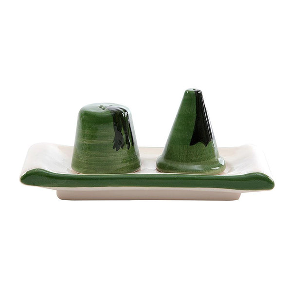 Green Salt & Pepper Hand Painted Ceramic Shakers