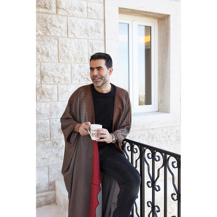 Mouftah El Chark Light Brown and Red Cotton Abaya