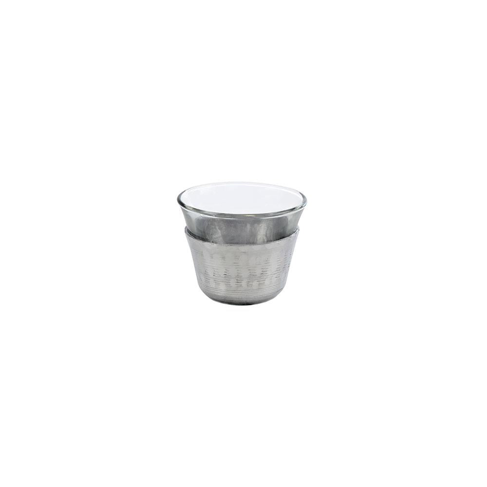 Mouftah El Chark Aluminium & Glass Coffee Cups - Set of 6