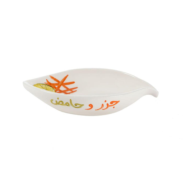 Carrots & Lemon Hand Painted Ceramic Serving Plate