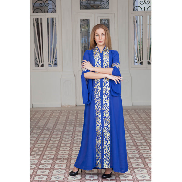 Arabic Calligraphy Blue Abaya