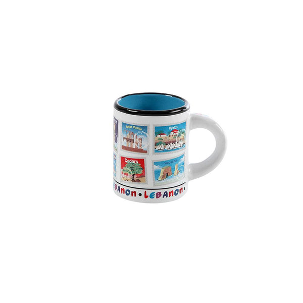 Lebanese Stamps Mini Porcelain Mug