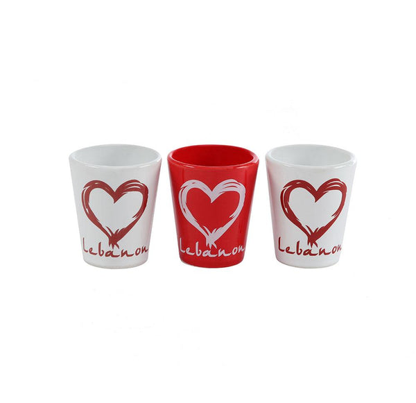 I Heart Lebanon Porcelain Shots - Set of 3