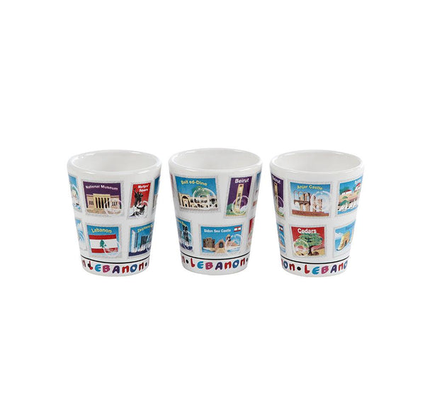 Lebanese Stamps Porcelain Shots - Set of 3