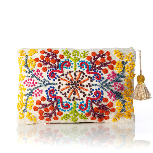 La Vida Beaded Cotton Pouch