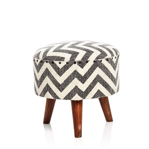 Zigzag Pouf - Grey & White