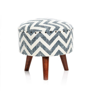 Zigzag Pouf - Blue & White