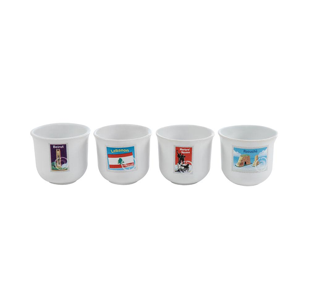 Mouftah El Chark Beirut Stamps Coffee Cups - Set of 4