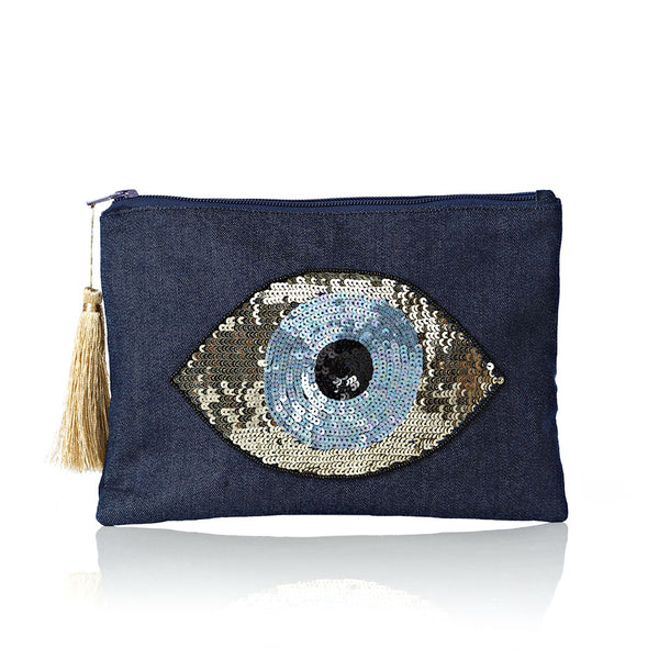 Jeans Evil Eye Pouch Bag