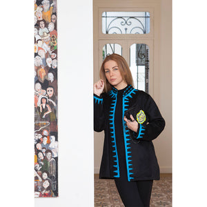 Black & Turquoise Wool Jacket
