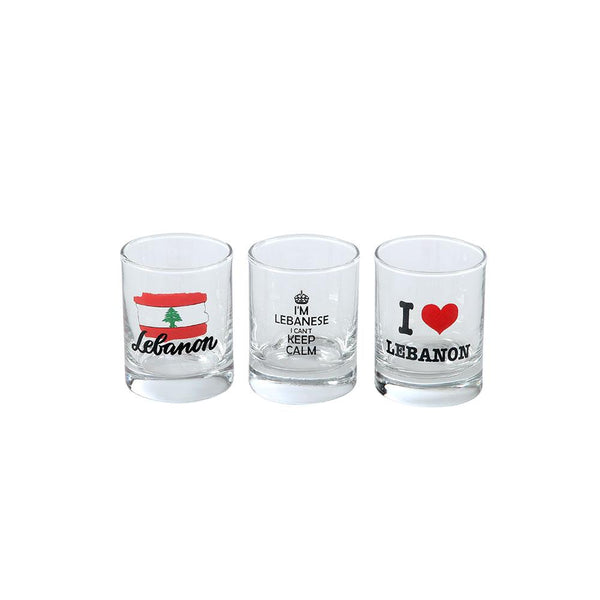 I Love Lebanon Glass Shots - Set of 3