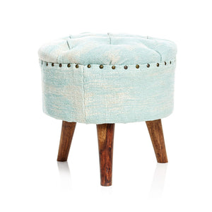 Acid Wash Pouf - Aqua Blue