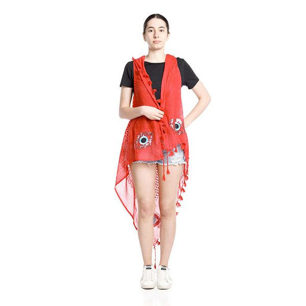 Evil Eye Kaffieh Vest - Red