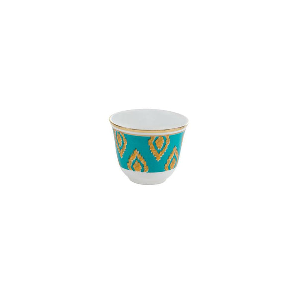 Green & Gold Coffee Cups - Set of 6