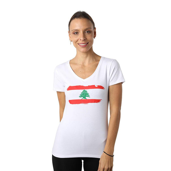 Lebanon White V-neck T-shirt