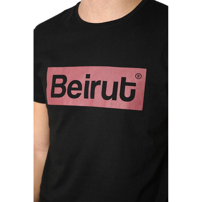Beirut Burgundy on Black Men's T-shirt