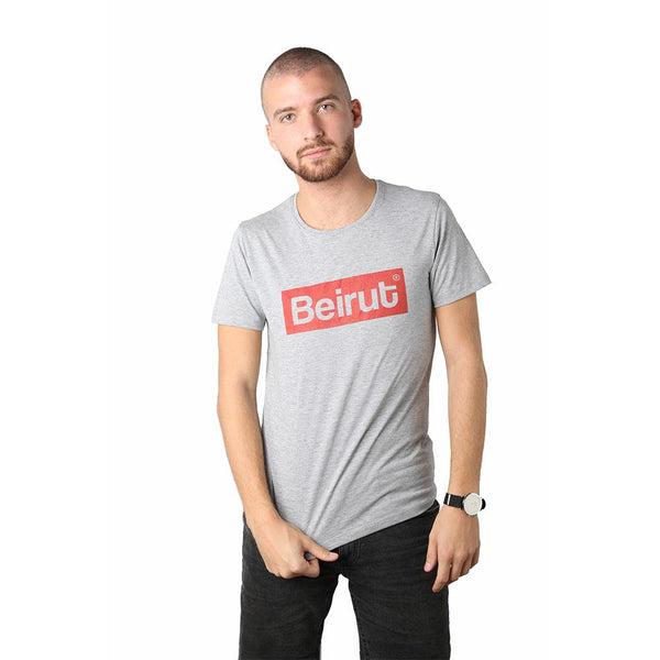 Beirut Red on Grey Men's T-shirt