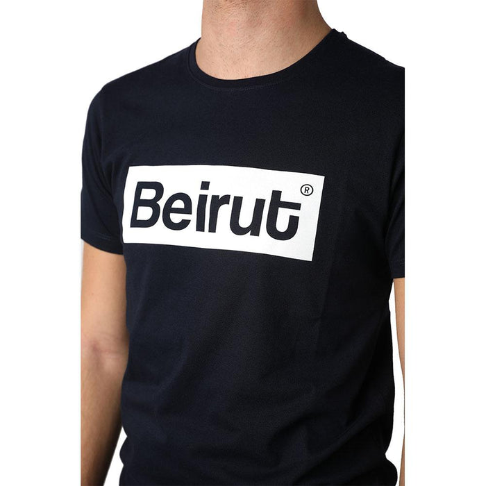 Beirut White on Navy Blue Men's T-shirt