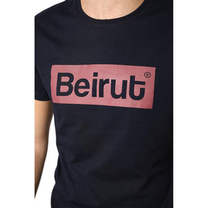 Beirut Burgundy on Navy Blue Men's T-shirt