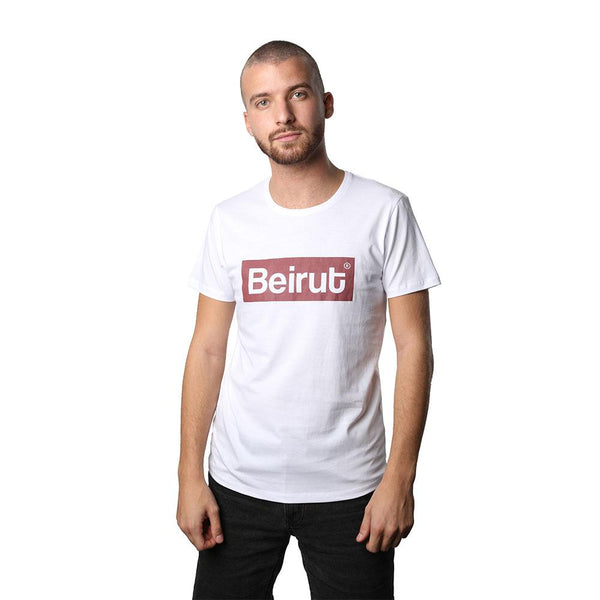 Beirut Burgundy on White Men's T-shirt