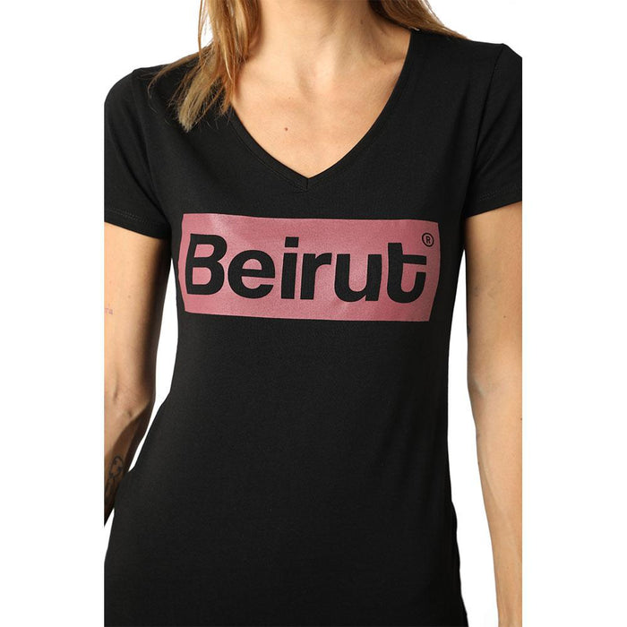 Beirut Burgundy on Black V-neck T-shirt