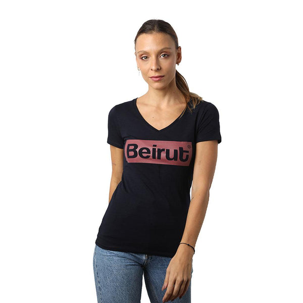 Beirut Burgundy on Navy Blue V-neck T-shirt