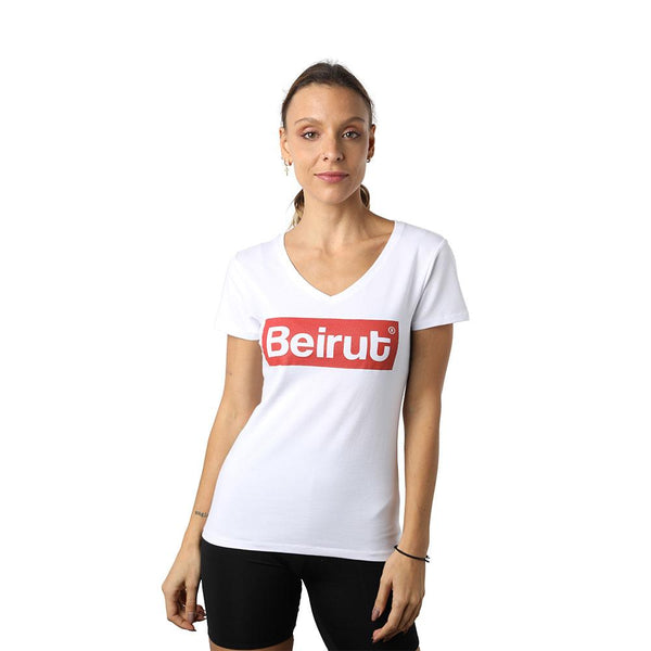 Beirut Red on White V-neck T-shirt