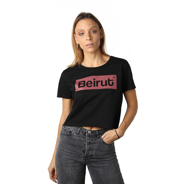 Beirut Burgundy on Black Crew Neck Crop Top
