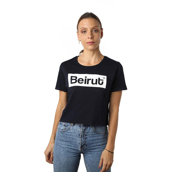 Beirut White on Navy Blue Crew Neck Crop Top