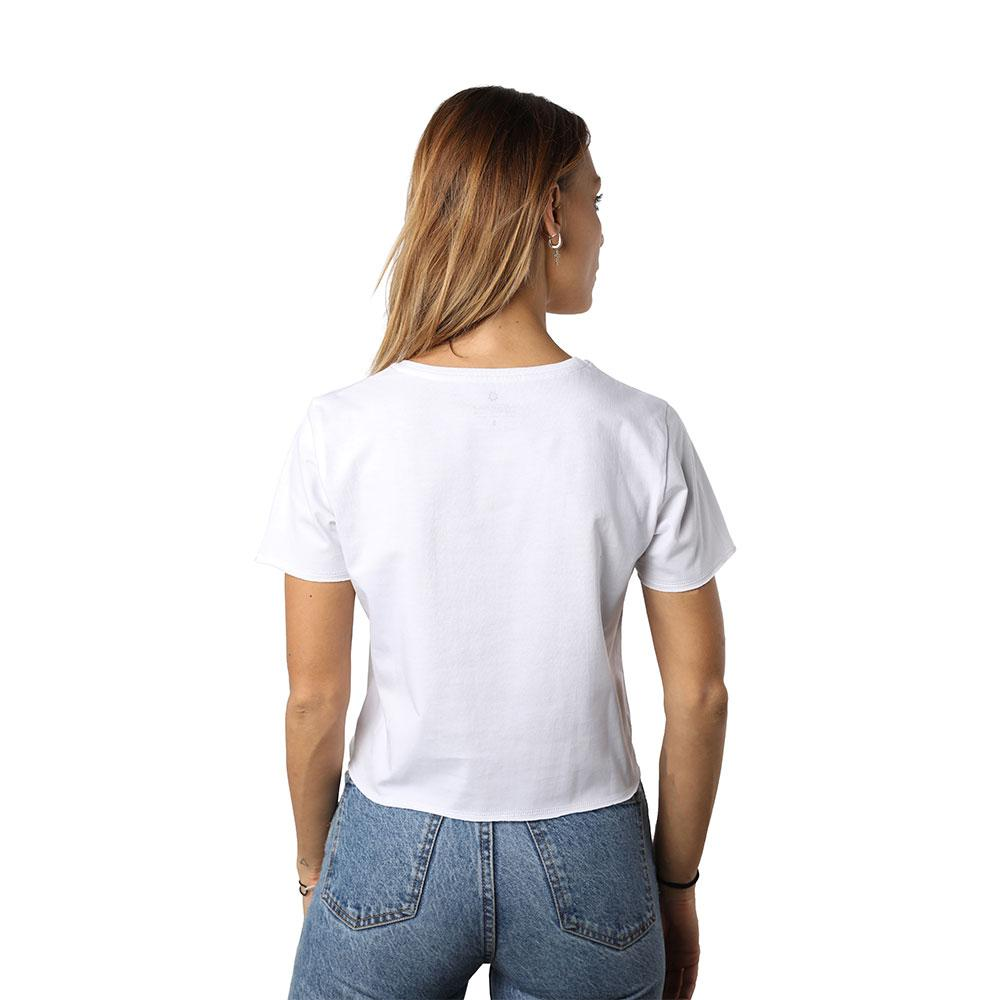 Beirut Burdundy on White Crew Neck Crop Top