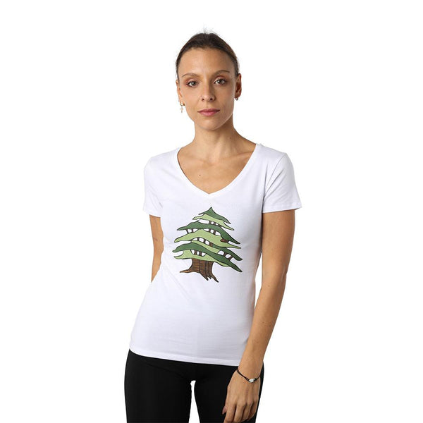 Cedar of Lebanon White V-neck T-shirt